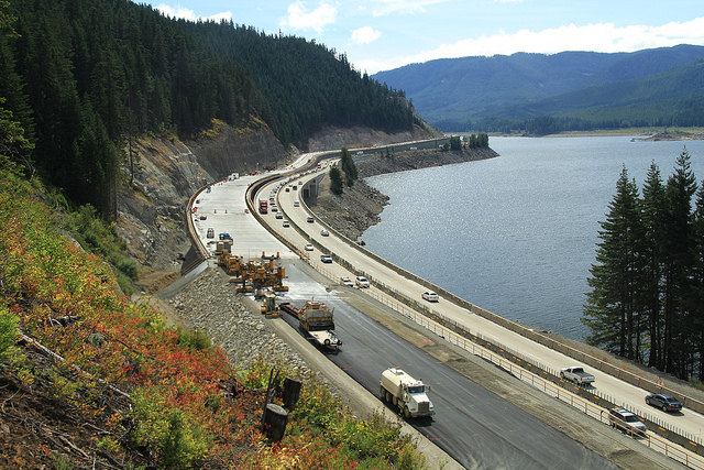 Westbound avalanche bridge nears completion alongside Lake Keechelus